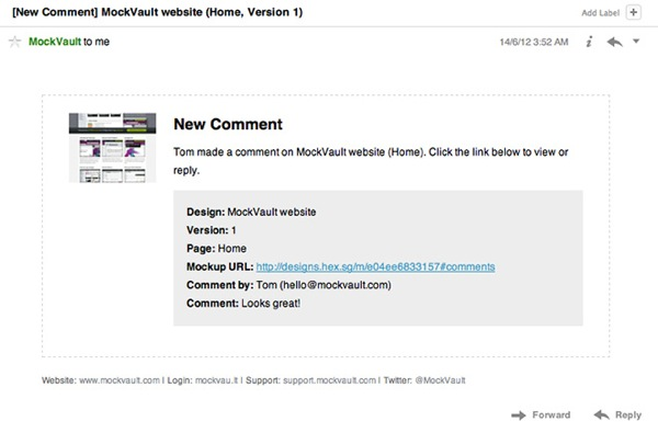 Comment email with mockup preview